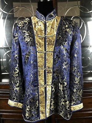 Chinese Blue Silk Gold Embroidered Robe Kimono Textile Shirt Top China XXXL
