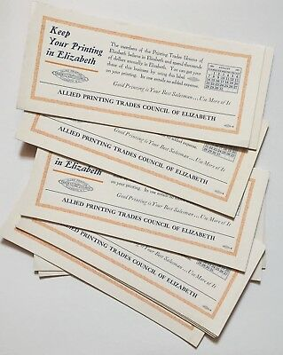14 INK BLOTTERS 1927 ALLIED PRINTING TRADES COUNCIL OF ELIZABETH NEW JERSEY 9x4""