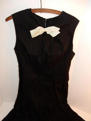 VINTAGE LADIES 1950s BLACK WITH WHITE BOW DRESS TAG MID CENTURY CUTE