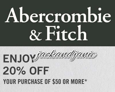 SENT FAST! Abercrombie & Fitch 20% off $50+ (Works on Sales & Clearance Too!)