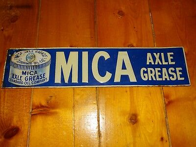 Vintage original tin advertising sign MICA Axle Grease Standard Oil Co.