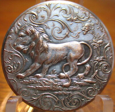 "Antique BACKMARKED ""Sporting Design"" Button ""LION"" Hunt Silvered Brass"