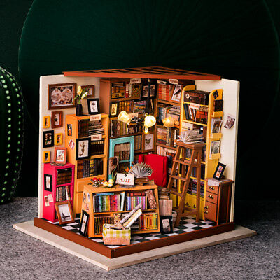 ROBOTIME DIY Dollhouse Library Miniature Books Store Kits Wooden Gift for Girl