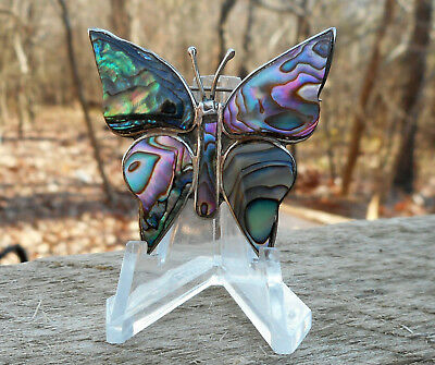Vintage Mexico Alpaca Nickel Silver Abalone Butterfly Pin Brooch Excellent!