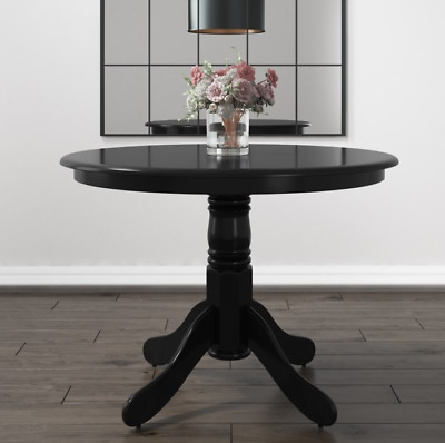 Pedestal Dining Table Round Black Furniture Solid Wood Kitchen Small Breakfast