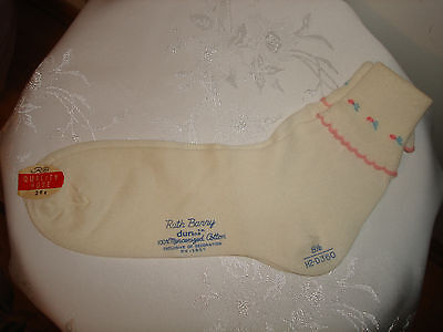 Vintage Ruth Barry Durene White Mercerized Cotton New Top Of Ankle Socks 8.5