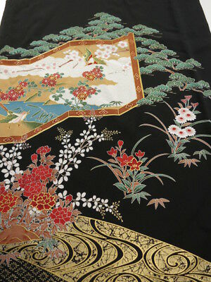 3E04z70 Japanese Kimono Silk  FABRIC Black Bird 46.5""