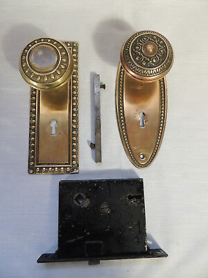 2 Antique Brass Door Knobs with Back Plates & Mortise Lock