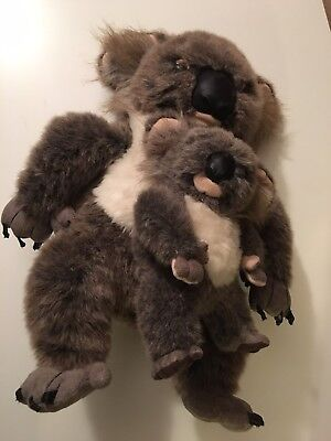 Discovery Channel Realistic Large 15 in Koala Mom & Baby Plush Stuffed Toy 1999