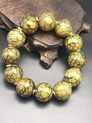 Beautiful Chinese Natural Ice Flower Old Agate Round Beads Lucky Bracelet