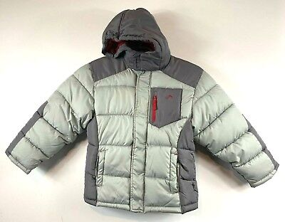 Vertical 9 Puffer Jacket Kids Size 8 Grey Lined Hooded Warm Insulated