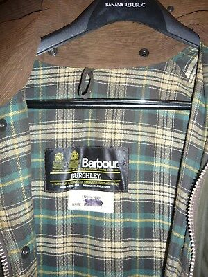 Vintage Mens BARBOUR BURGHLEY Waxed Oil Wax Waterproof  Jacket Coat  112/44 cm