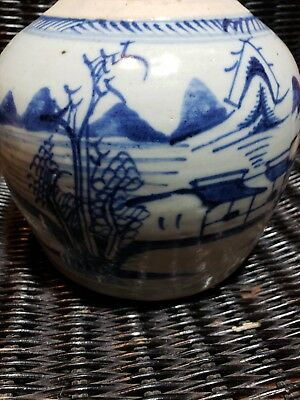 China Trade Export Landscape Blue White Ginger Jar Porcelain