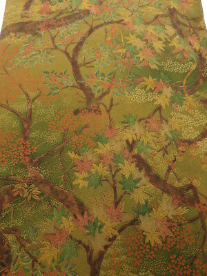 1N05z70 Japanese Kimono Silk  FABRIC Brown-Ochre Maple 58.3""