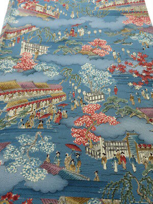 1N05z100 Japanese Kimono Crepe Silk  FABRIC Blue-Gray Edo scenery 62.2""