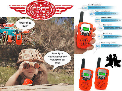 Walkie Talkies for 3-12 Year Old Kids Toys Clear Voice Technology 3 Miles Orange
