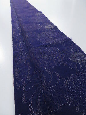 2V08z40 Vintage Japanese Kimono Silk  FABRIC Navy-Purple Chrysanthemum 52.8""