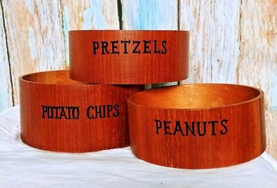 Vintage 70's Wood Engraved Stacking Snack Serving Bowls Large Medium Small
