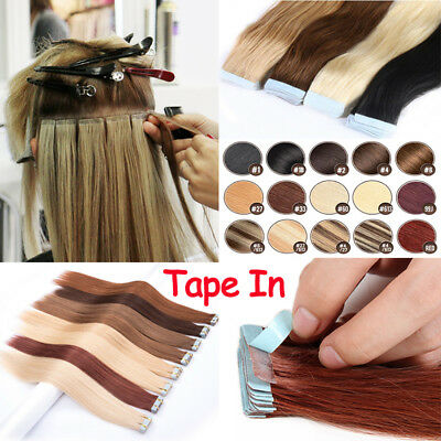 8A Top Quality Russian Tape In 100% Real Human Hair Extensions Straight High AU