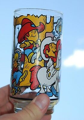 [ 1976 Texas DAIRY QUEEN Vintage Character GLASS - DQ Kid & Friends - 1970s ]