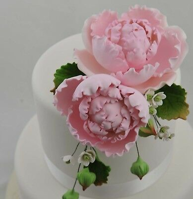 Large Pink Peony Bouquet Sugar flower wedding birthday cake decoration topper