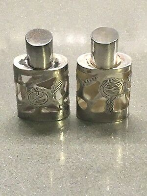 Mexican Sterling Silver Overlay Perfume Bottles