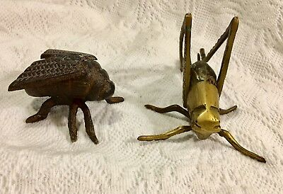 Vintage Brass Cricket Grasshopper Cast Iron Fly Garden Bugs Patio Insects