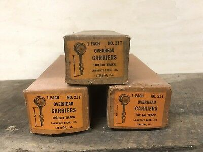 NOS Vintage Lot 3 Barn Door Indoor Rollers Wheels Model No. 21T