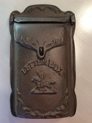 Antique Cast Iron Wall Mount Letter Mail Box Horse And Rider Logo