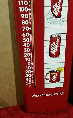 Vintage advertising thermometer - DR PEPPER - metal soda pop sign - USA MADE