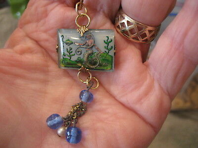 MERMAID  NECKLACE  a beautiful vintage intaglio Reverse carved and Painted