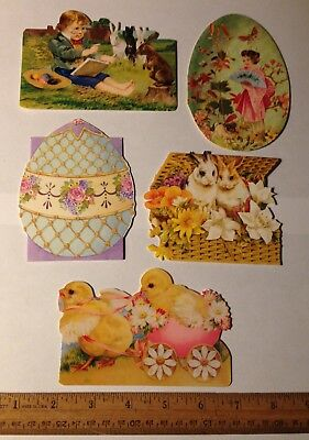 5 Victorian Style Die Cut Easter Greeting Gift Cards Note Blank L3