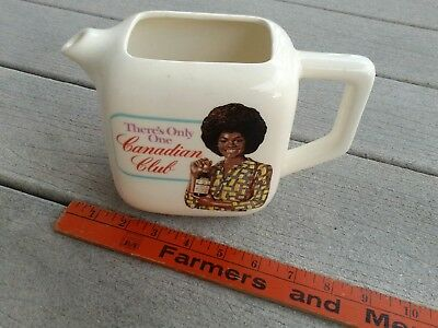 Rare Vtg Antique Canadian Club Whiskey Pitcher African American Black Lady Afro