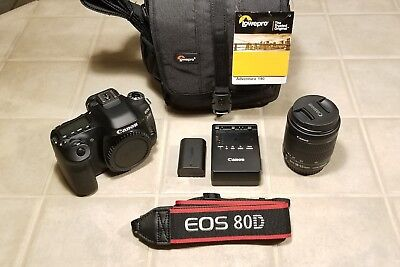 Canon EOS 80D Digital SLR Camera w/18-55mm Lens + LowePro Adventura 450 bag