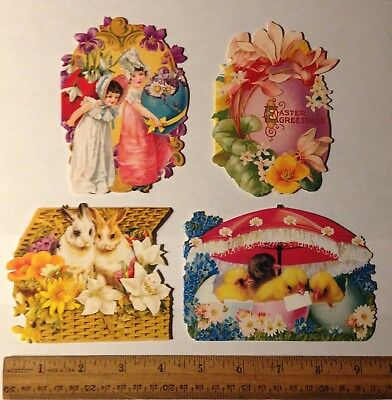 4 Victorian Style Die Cut Easter Greeting Gift Cards Note Blank L4