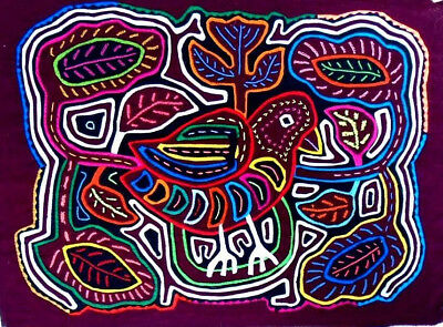 Kuna Indian Art. Hand Stitch. BIRD AND LEAVES -476. Mola Art of Panama.