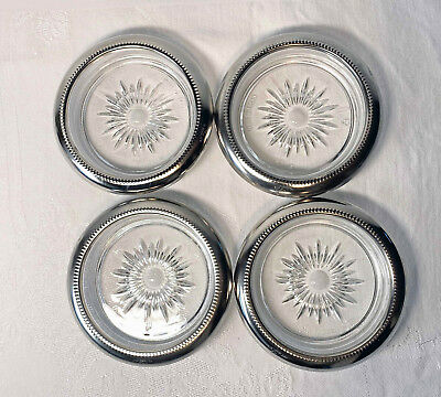 VINTAGE 4 LEONARD SILVER PLATE & CUT GLASS COASTERs MADE IN ITALY