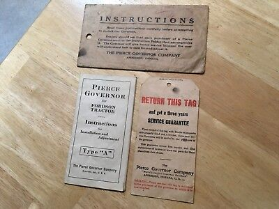 Rare 1928 FORDSON TRACTOR PIERCE GOVERNOR Instructions, Service Tag, & Envelope