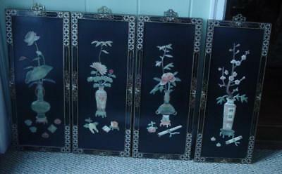4 vintage art panels Chinese flowers lacquer carved Mother of Pearl Oriental set