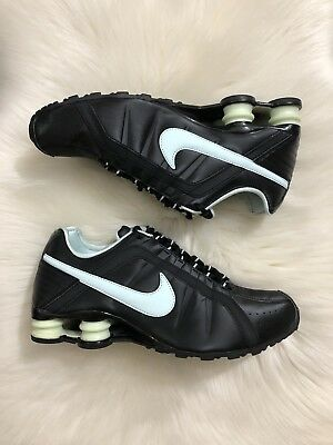 abb121668d2c Nike Shox Junior Women s Size 9.5 Black Light Blue Running Sneakers
