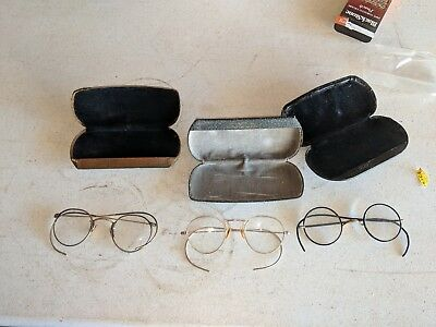 Antique Round Rim Eye Glasses & 3 Pair Shaped Lens Gold Filled All Top Wire