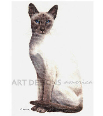 ACEO Siamese Cat Archival Art Print from Original Pastel Painting by ADA