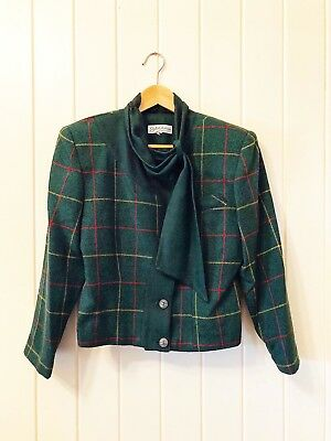 Tweed Wool Style Jacket with Unique Neckline Tie Retro Green - Size AU 8 JP 7
