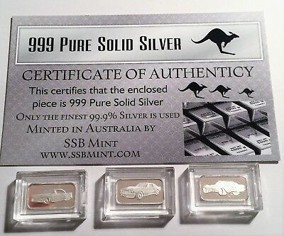 "3 x 1 Gram ""Muscle Car Series"" 999.0 Pure Silver Bullion Ingots with C.O.A."