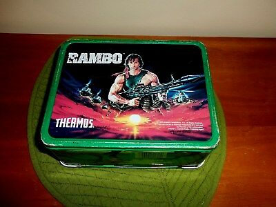 Vintage Rambo Lunchbox 1985 Complete Set With Thermos Nice And Clean Inside
