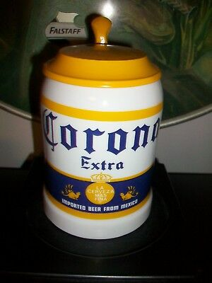 Ceramic  Metal Lidded CORONA Beer Stein Mug Officially Licensed. Made in Mexico