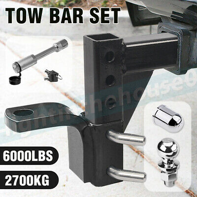 """Towbar Adjustable Tow Bar 2700Kg 5 Hole Ball Mount Tongue Hitch 2"""" 4Wd Trailer"""