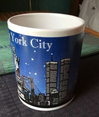 Vintage Full Color Souvenir New York City Skyline and Twin Towers Coffee Mug Cup