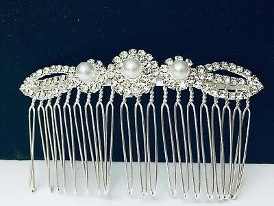 Elegant Bridal Party Hair Comb in Silver Colour with Pearls and Rhinestones