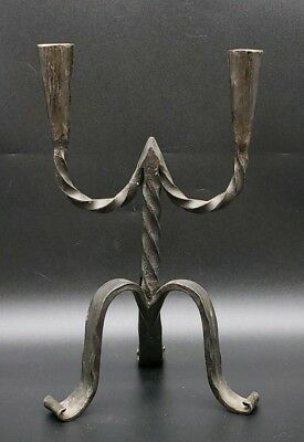 Primitive Hand Wrought Iron Double Candlestick Candelabra Vintage